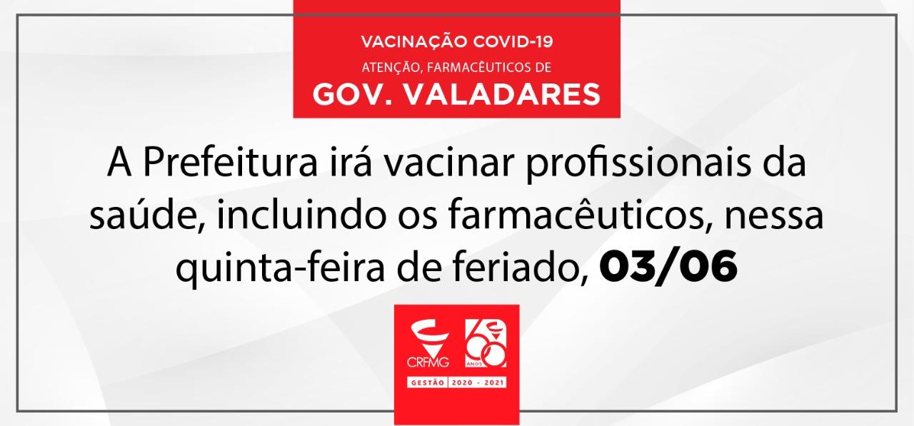 Prefeitura de Governador Valadares vacina profissionais de saúde nesse feriado
